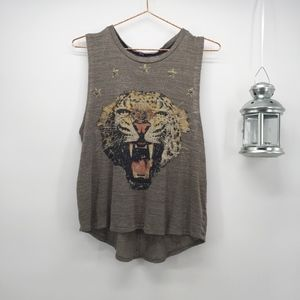 Moon Collection Studded Leopard Knit Tank
